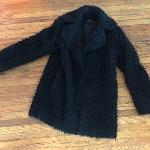 Topshop black fuzzy coat